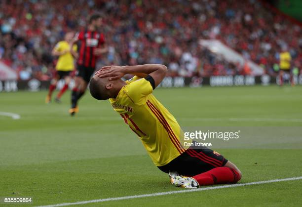 Richarlison de Andrade of Watford reacts during the Premier League match between AFC Bournemouth and Watford at Vitality Stadium on August 19 2017 in...