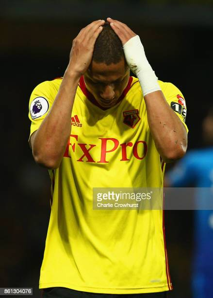 Richarlison de Andrade of Watford reacts during the Premier League match between Watford and Arsenal at Vicarage Road on October 14 2017 in Watford...