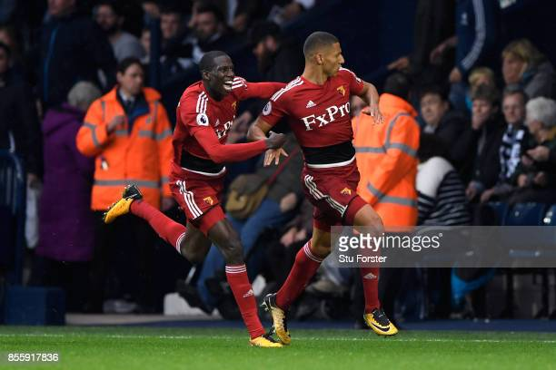 Richarlison de Andrade of Watford scores his sides second goal during the Premier League match between West Bromwich Albion and Watford at The...