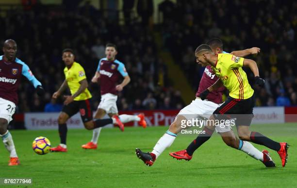 Richarlison de Andrade of Watford scores their second goal during the Premier League match between Watford and West Ham United at Vicarage Road on...