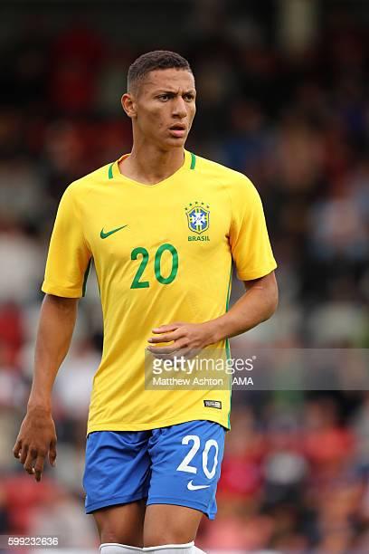 Richarlison of Brazil U20 during the International friendly match between England U20 and Brazil U20 at Aggborough Stadium on September 4 2016 in...