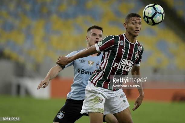 Richarlison of Fluminense battles for the ball with Ramiro of Gremio during the match between Fluminense and Gremio as part of Brasileirao Series A...