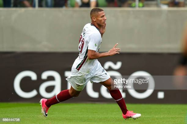 Richarlison of Fluminense celebrates a scored goal against Atletico MG during a match between Atletico MG and Fluminense as part of Brasileirao...