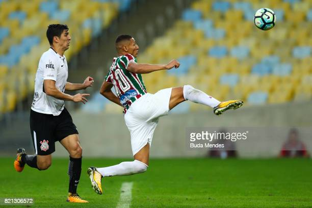 Richarlison of Fluminense struggles for the ball with Balbuena of Corinthians during a match between Fluminense and Corinthians as part of...