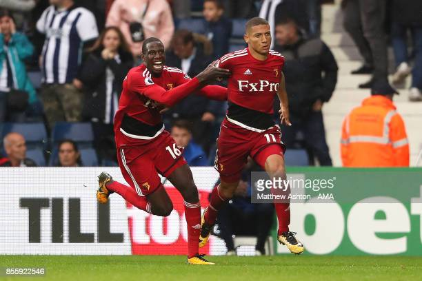 Richarlison of Watford celebrates scoring a goal to make the score 22 during the Premier League match between West Bromwich Albion and Watford at The...