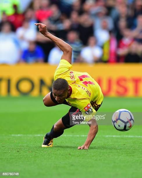 Richarlison of Watford during the Premier League match between Watford and Liverpool at Vicarage Road on August 12 2017 in Watford England