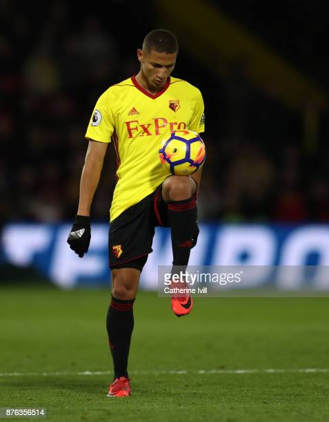 Richarlison of Watford during the Premier League match between Watford and West Ham United at Vicarage Road on November 19 2017 in Watford England