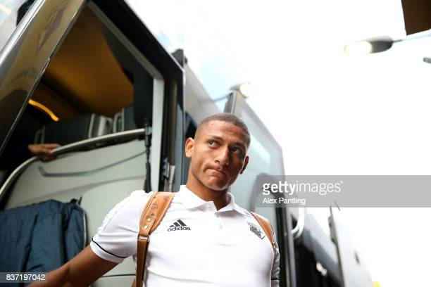 Richarlison of Watford gets off the team coach before the Carabao Cup Second Round match between Watford and Bristol City at Vicarage Road on August...