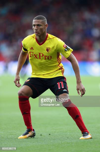 Richarlison of Watford in action during the Premier League match between AFC Bournemouth and Watford at Vitality Stadium on August 19 2017 in...