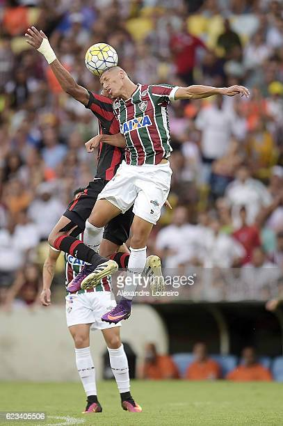 Richarlisonof Fluminense in action during the match between Fluminense and AtleticoPR as part of Brasileirao Series A 2016 at Maracana Stadium on...