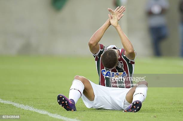 Richarlisonof Fluminense reacts during the match between Fluminense and AtleticoPR as part of Brasileirao Series A 2016 at Maracana Stadium on...