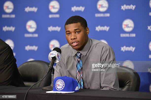 Richaun Holmes attends a press conference after being selected by the Philadelphia 76ers in the 2015 NBA draft on June 27 2015 at the Wells Fargo...