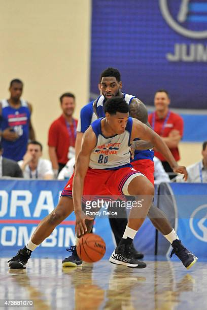 Richaun Holmes is guarded by Branden Dawson during the 2015 NBA Draft Combine on May 15 2015 at Quest Multiplex in Chicago Illinois NOTE TO USER User...