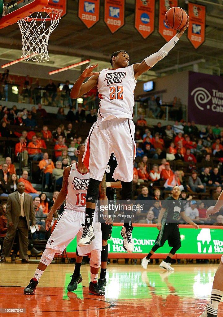 Richaun Holmes #22 of the Bowling Green Falcons grabs a first half rebound while playing the Ohio Bobcats at the Stroh Center on March 2, 2013 in Bowling Green, Ohio. Ohio won the game 78-65.