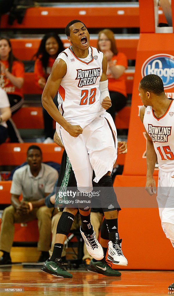 Richaun Holmes of the Bowling Green Falcons reacts after a firsthalf dunk while playing the Ohio Bobcats at the Stroh Center on March 2 2013 in...