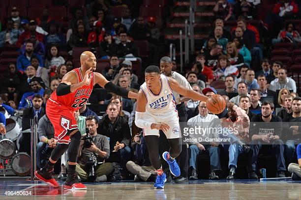 Richaun Holmes of the Philadelphia 76ers dribbles up the court against the Chicago Bulls at Wells Fargo Center on November 9 2015 in Philadelphia...