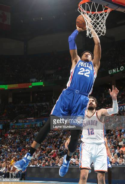 Richaun Holmes of the Philadelphia 76ers dunks against the Oklahoma City Thunder during the game on March 22 2017 at Chesapeake Energy Arena in...