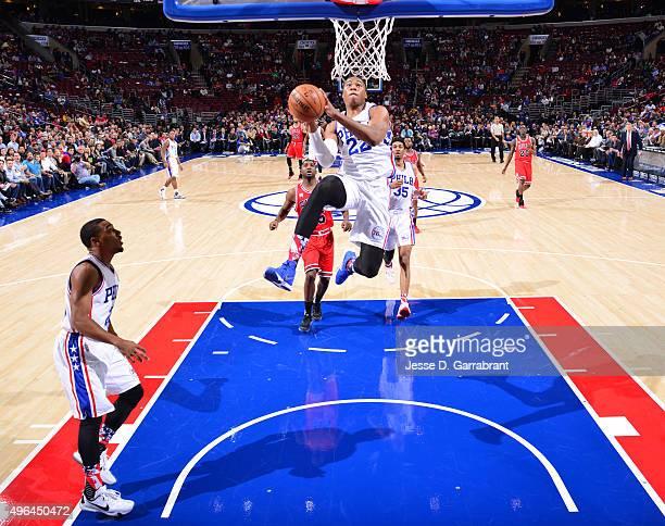 Richaun Holmes of the Philadelphia 76ers goes in for the dunk against the Chicago Bulls at Wells Fargo Center on November 9 2015 in Philadelphia...