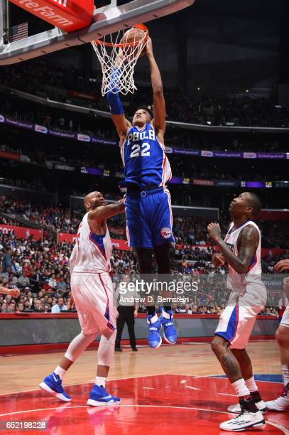 Richaun Holmes of the Philadelphia 76ers goes up for a dunk during a game against the LA Clippers on March 11 2017 at STAPLES Center in Los Angeles...