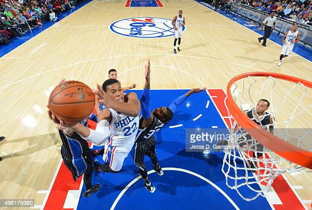 Richaun Holmes of the Philadelphia 76ers goes up for the dunk against the Orlando Magic at Wells Fargo Center on November 7 2015 in Philadelphia...