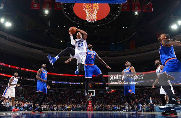Richaun Holmes of the Philadelphia 76ers goes up for the dunk against the New York Knicks at Wells Fargo Center on December 18 2015 in Philadelphia...