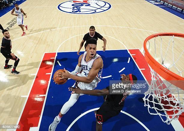 Richaun Holmes of the Philadelphia 76ers goes up for the dunk against the Chicago Bulls at Wells Fargo Center on November 25 2016 in Philadelphia...