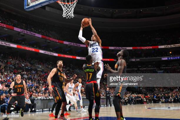 Richaun Holmes of the Philadelphia 76ers goes up for the dunk against the Atlanta Hawks at Wells Fargo Center on March 29 2017 in Philadelphia...