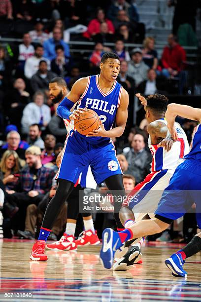 Richaun Holmes of the Philadelphia 76ers handles the ball during the game against the Detroit Pistons on January 27 2016 at The Palace of Auburn...