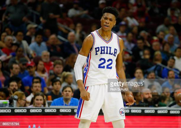 Richaun Holmes of the Philadelphia 76ers in action against the Brooklyn Nets in the first half during an NBA game at Wells Fargo Center on April 4...