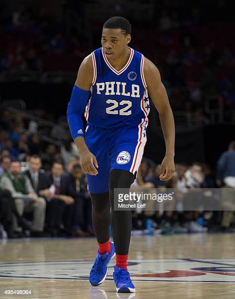 Richaun Holmes of the Philadelphia 76ers plays in the game against the Utah Jazz on October 30 2015 at the Wells Fargo Center in Philadelphia...
