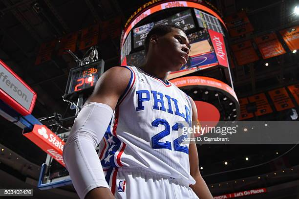 Richaun Holmes of the Philadelphia 76ers reacts after a big dunk against the Minnesota Timberwolves at Wells Fargo Center on January 4 2015 in...