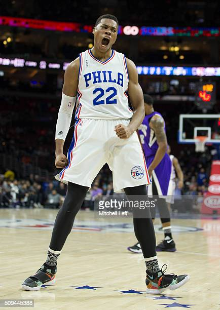 Richaun Holmes of the Philadelphia 76ers reacts after a made basket against the Sacramento Kings on February 10 2016 at the Wells Fargo Center in...