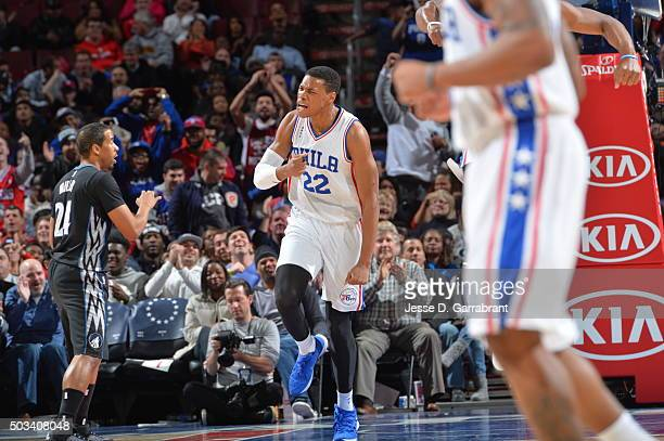 Richaun Holmes of the Philadelphia 76ers reacts after winning the game against the Minnesota Timberwolves at Wells Fargo Center on January 4 2015 in...