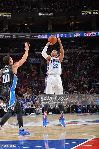 Richaun Holmes of the Philadelphia 76ers shoots the ball against the Orlando Magic at Wells Fargo Center on November 7 2015 in Philadelphia...