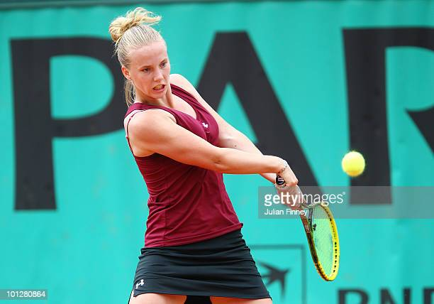 Richel Hogenkamp of Netherlands in action during the girl's singles first round match between Richel Hogenkamp of Netherlands and Jade Suvrijn of...