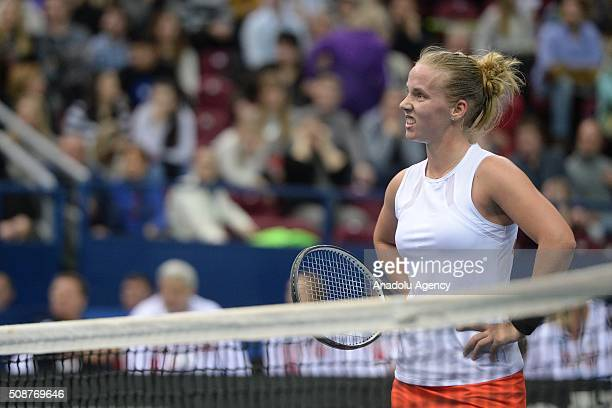 Richel Hogenkamp of the Netherlands gestures during her match against Svetlana Kuznetsova of Russia during the 2016 Fed Cup World Group 1st Round...