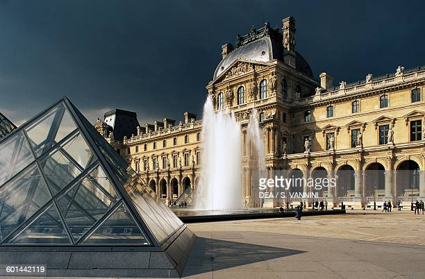 Richelieu pavilion and the Cour Napoleon Louvre museum Paris IledeFrance France