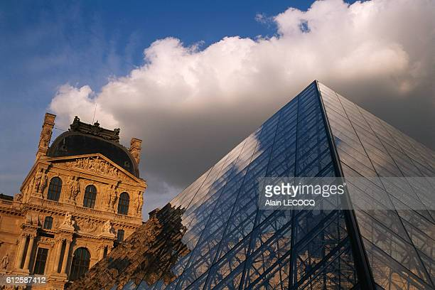Richelieu Wing of the Louvre Museum and glass Pyramid designed by American architect Ieoh Ming Pei