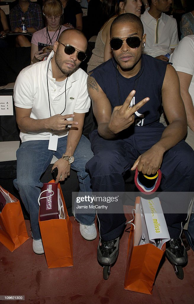 Richie Akiva and Maxwell during Olympus Fashion Week Spring 2006 Rosa Cha by Amir Slama Front Row and Backstage at Bryant Park in New York City New...