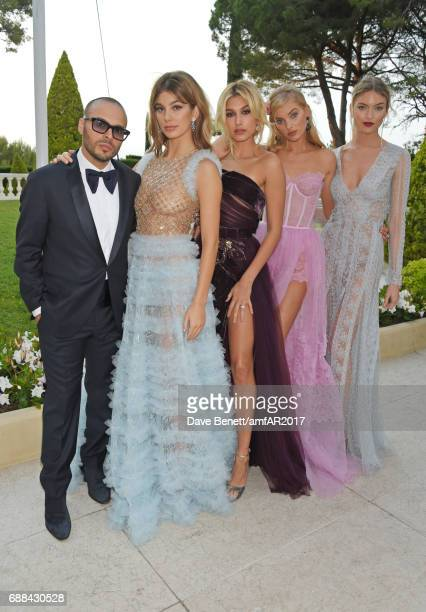 Richie Akiva Camila Morrone Hailey Baldwin Elsa Hosk and Martha Hunt arrive at the amfAR Gala Cannes 2017 at Hotel du CapEdenRoc on May 25 2017 in...