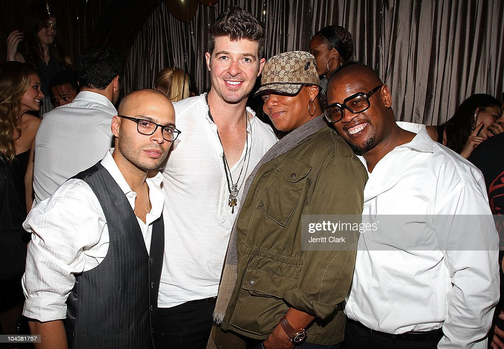 Richie Akiva Robin Thicke Queen Latifah and Andre Harrell attend Richie Akiva's birthday at 1OAK on September 18 2010 in New York City