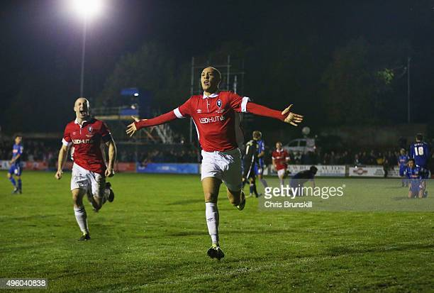 Richie Allen of Salford City celebrates as he scores their second goal during the Emirates FA Cup first round match between Salford City and Notts...