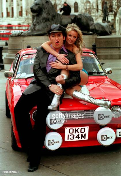 Richie AND A FELLOW CAST MEMBER PROMOTE THE NEW MUSICAL 'BOOGIE NIGHTS' AT A PHOTOCALL IN LONDON'S TRAFALGAR SQUARE