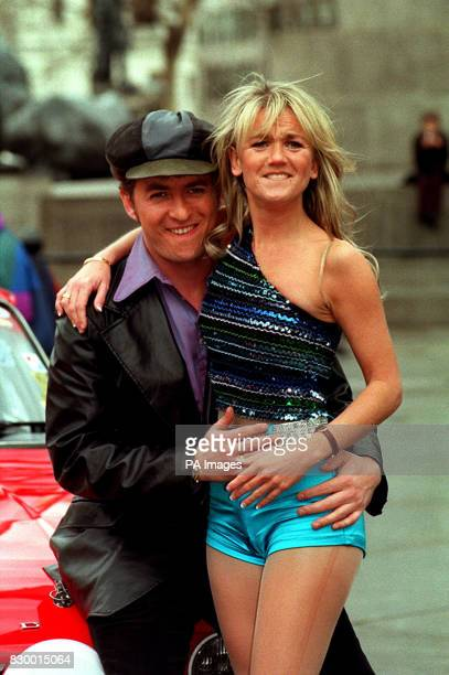 Richie AND A FELLOW CAST MEMBER PROMOTE THE NEW MUSICAL 'BOOGIE NIGHTS' IN LONDON'S TRAFALGAR SQUARE