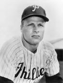 Richie Ashburn of the Philadelphia Phillies poses for a portrait before a season game Richie Ashburn played for the Philadelphia Phillies from 1948...
