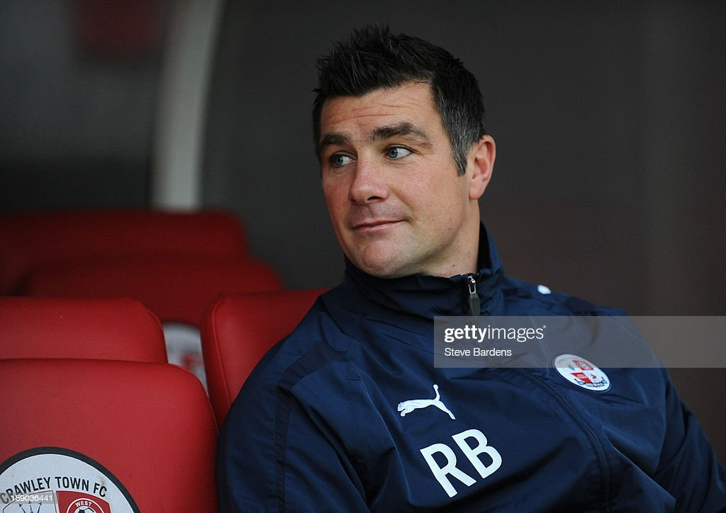 Richie Barker, manager of Crawley Town looks on prior to the FA Cup with Budweiser Third Round match between Crawley Town and Reading at Broadfield Stadium on January 5, 2013 in Crawley, West Sussex.