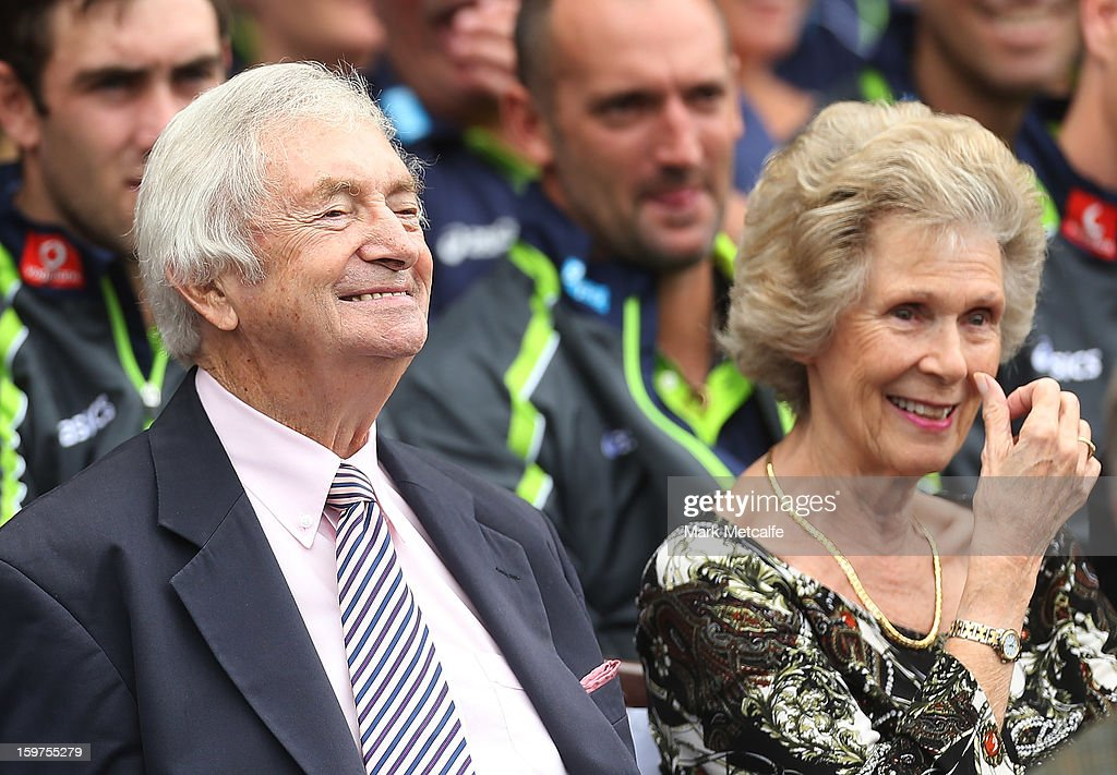 Richie Benaud and his wife Daphne attend the Tony Greig memorial service at Sydney Cricket Ground on January 20, 2013 in Sydney, Australia.