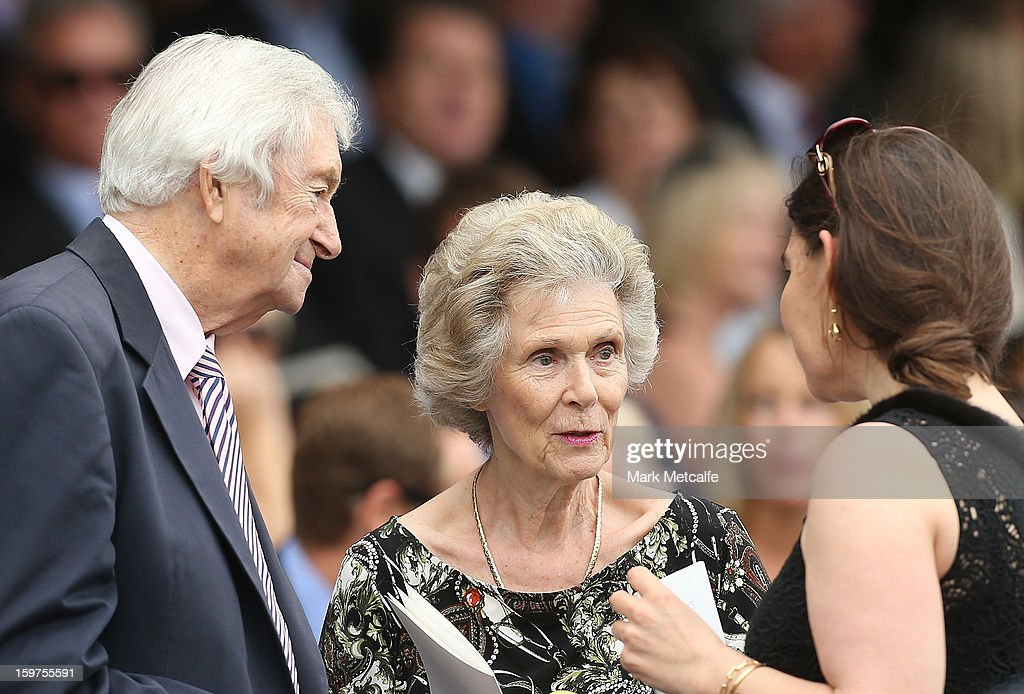 Richie Benaud and his wife Daphne talk to Gretal packer during the Tony Greig memorial service at Sydney Cricket Ground on January 20, 2013 in Sydney, Australia.