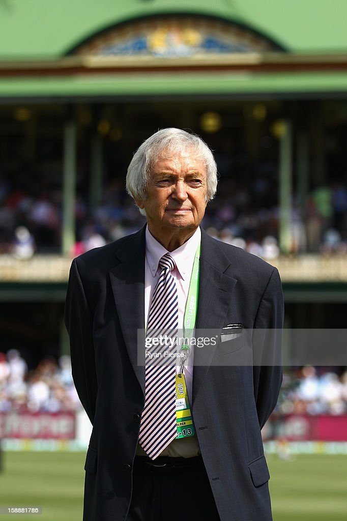 <a gi-track='captionPersonalityLinkClicked' href=/galleries/search?phrase=Richie+Benaud&family=editorial&specificpeople=239080 ng-click='$event.stopPropagation()'>Richie Benaud</a>, former Australian Captain and current Channel 9 commentator, looks on during day one of the Third Test match between Australia and Sri Lanka at Sydney Cricket Ground on January 3, 2013 in Sydney, Australia.