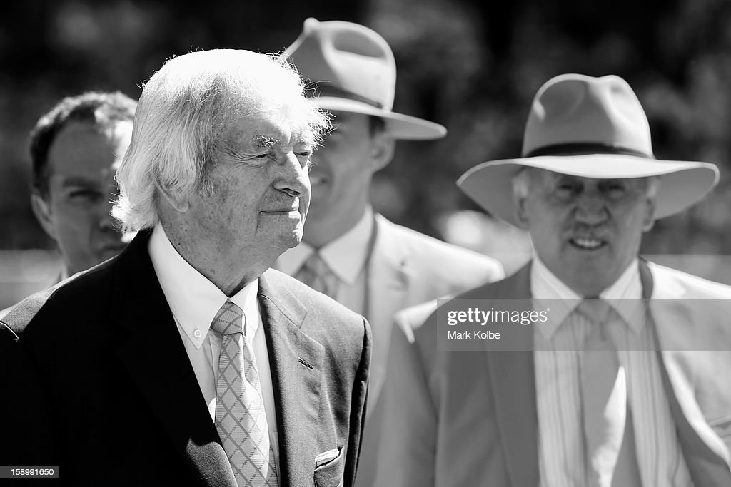 Richie Benaud, former Australian Captain and current Channel 9 commentator watches on during a piece to camera at the tea break during day three of the Third Test match between Australia and Sri Lanka at Sydney Cricket Ground on January 5, 2013 in Sydney, Australia.